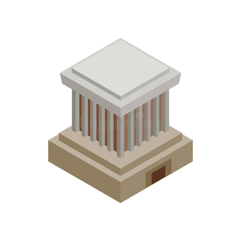 Εικονίδιο μαυσωλείων του Ho Chi Minh, isometric τρισδιάστατο ύφος απεικόνιση αποθεμάτων