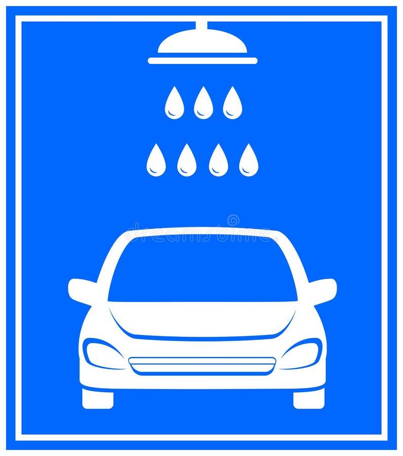 Εικονίδιο με την πλύση αυτοκινήτων απεικόνιση αποθεμάτων