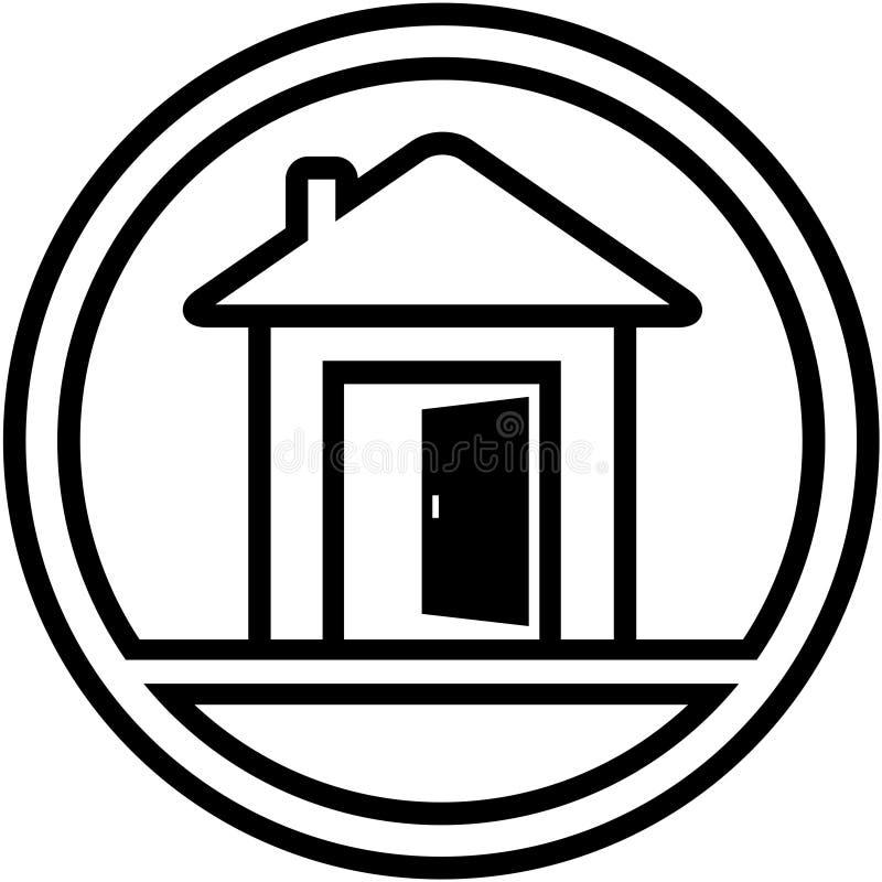 Εικονίδιο με το σπίτι και τη ανοιχτή πόρτα διανυσματική απεικόνιση