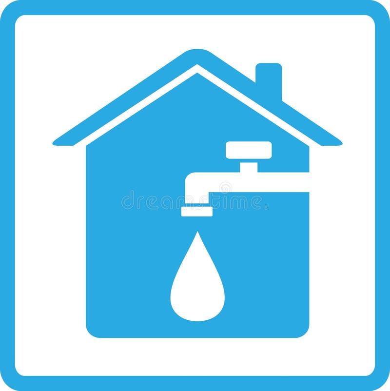 Εικονίδιο με το σπίτι, το βύσμα και την πτώση του νερού ελεύθερη απεικόνιση δικαιώματος