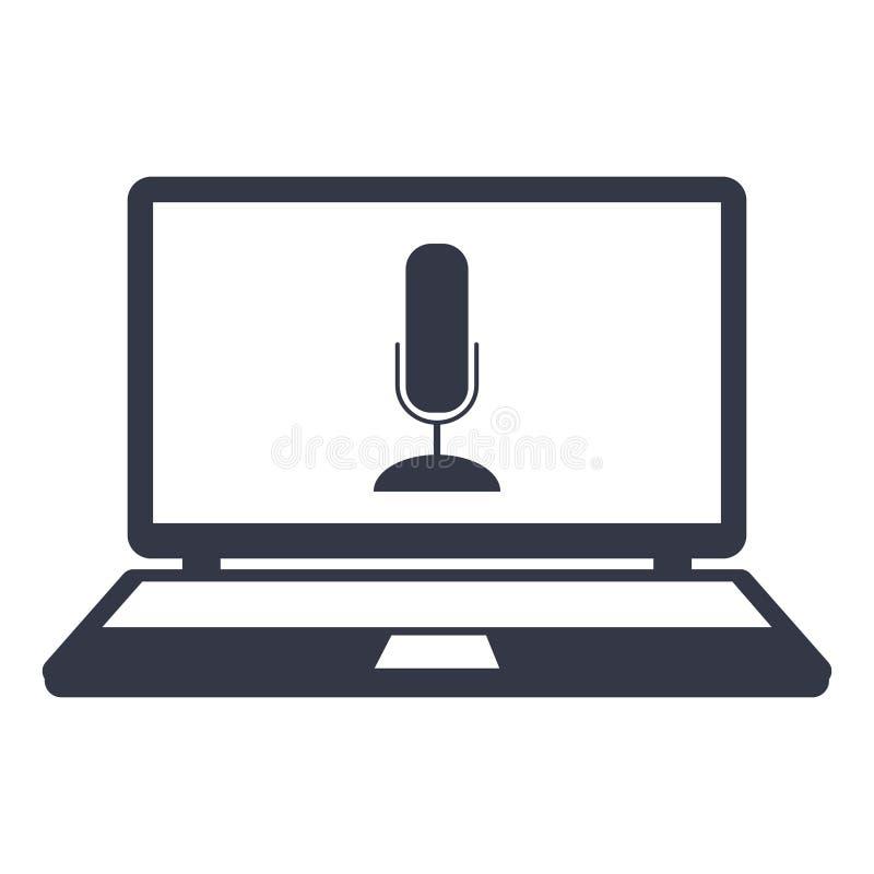 Εικονίδιο μικροφώνων στο lap-top οθόνης ελεύθερη απεικόνιση δικαιώματος