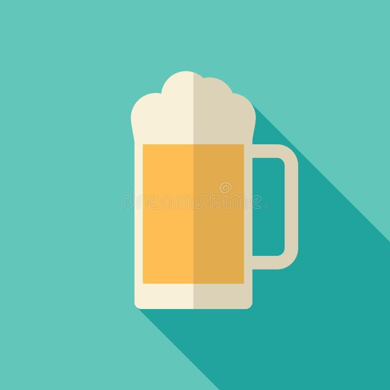 Εικονίδιο μπύρας, σύγχρονο επίπεδο σχέδιο με τη μακριά σκιά διανυσματική απεικόνιση