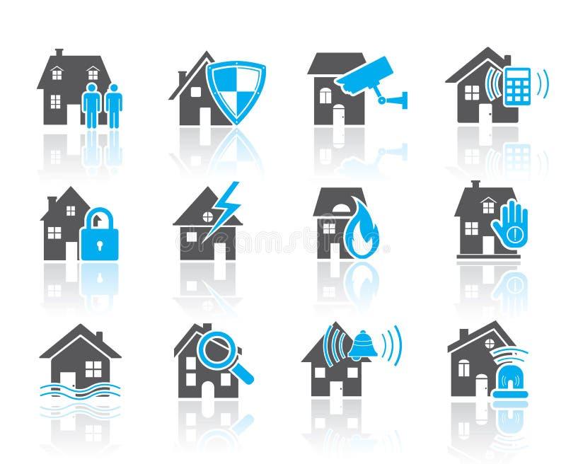 Εικονίδιο-μπλε ασφάλειας σπιτιών απεικόνιση αποθεμάτων