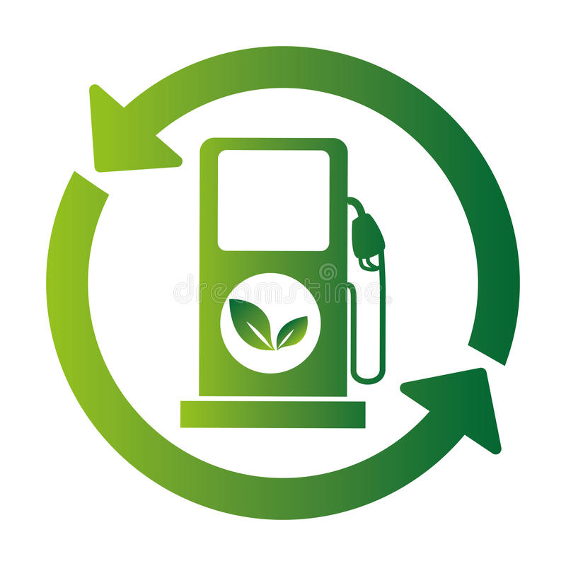 Εικονίδιο οικολογίας σταθμών καυσίμων ελεύθερη απεικόνιση δικαιώματος