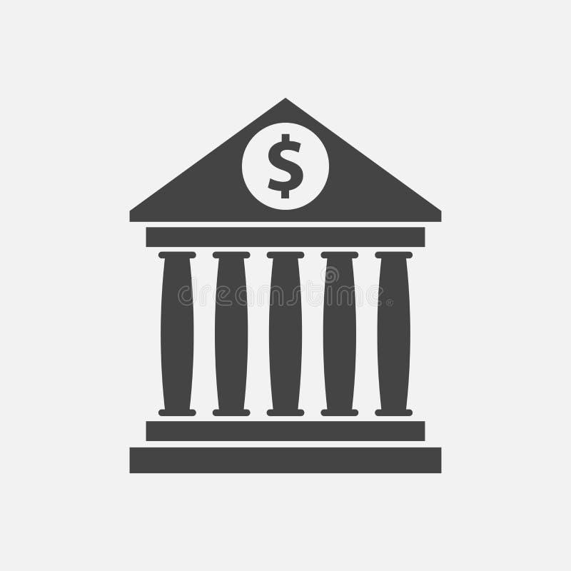 Εικονίδιο οικοδόμησης τράπεζας με το σημάδι δολαρίων στο επίπεδο ύφος διανυσματική απεικόνιση