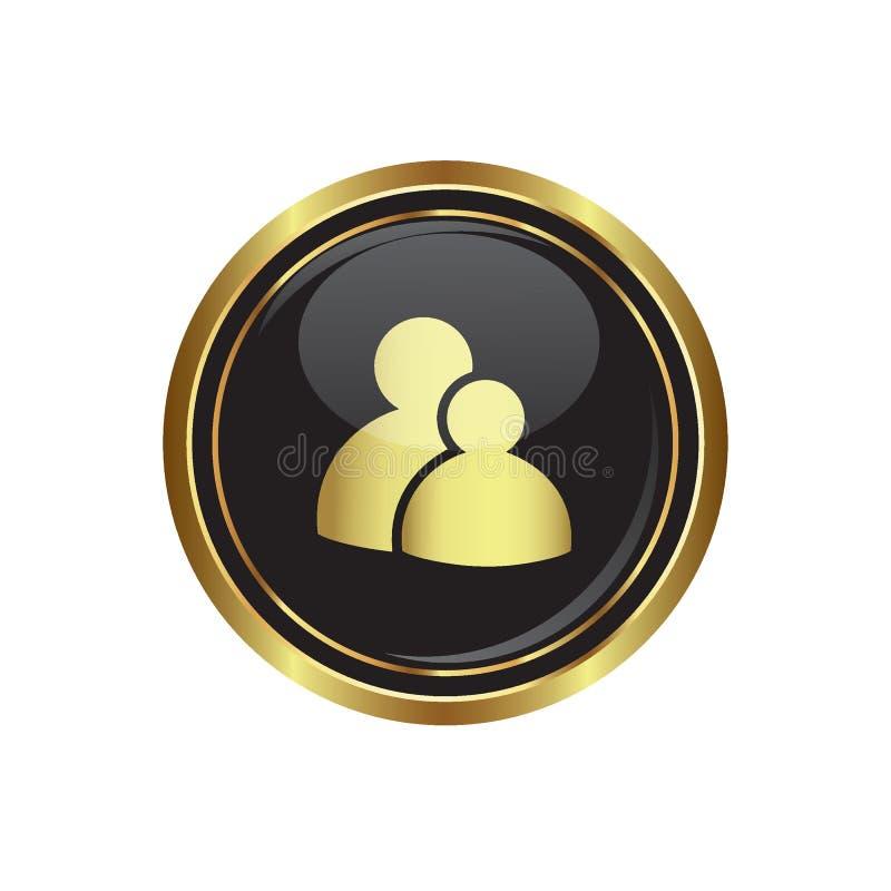Εικονίδιο ομάδας στο Μαύρο με το χρυσό στρογγυλό κουμπί διανυσματική απεικόνιση