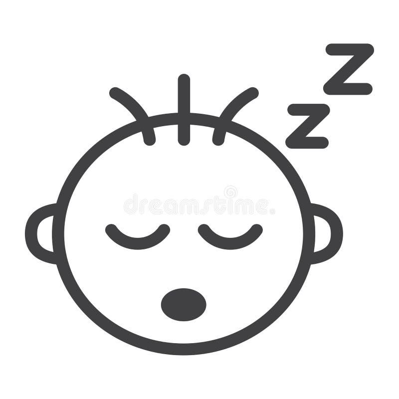 Εικονίδιο, παιδί και νήπιο γραμμών ύπνου αγοράκι απεικόνιση αποθεμάτων