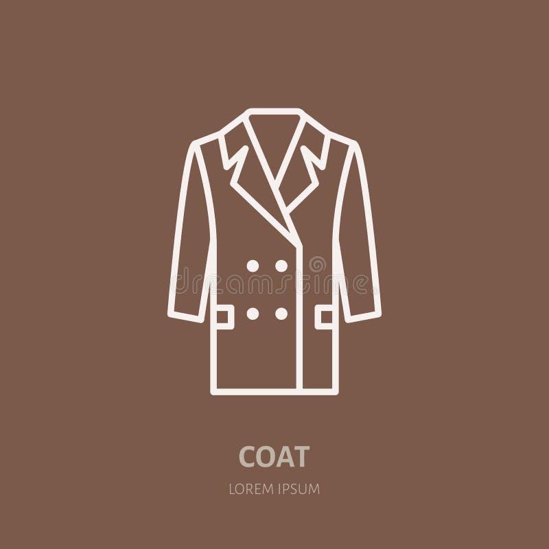 Εικονίδιο παλτών, ντύνοντας λογότυπο γραμμών καταστημάτων Επίπεδο σημάδι για τη συλλογή ενδυμασίας Logotype για το πλυντήριο, καθ απεικόνιση αποθεμάτων