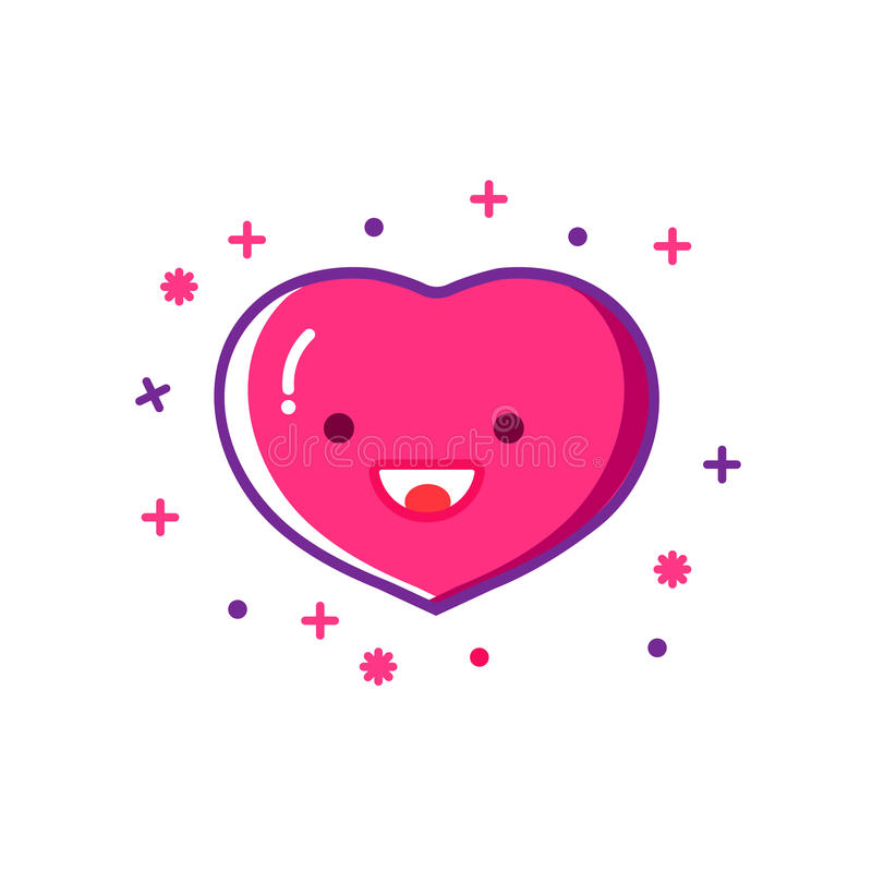 Εικονίδιο περιλήψεων καρδιών χαμόγελου, σύγχρονο επίπεδο ύφος σχεδίου Λεπτό σύμβολο γραμμών αγάπης, διανυσματική απεικόνιση ελεύθερη απεικόνιση δικαιώματος