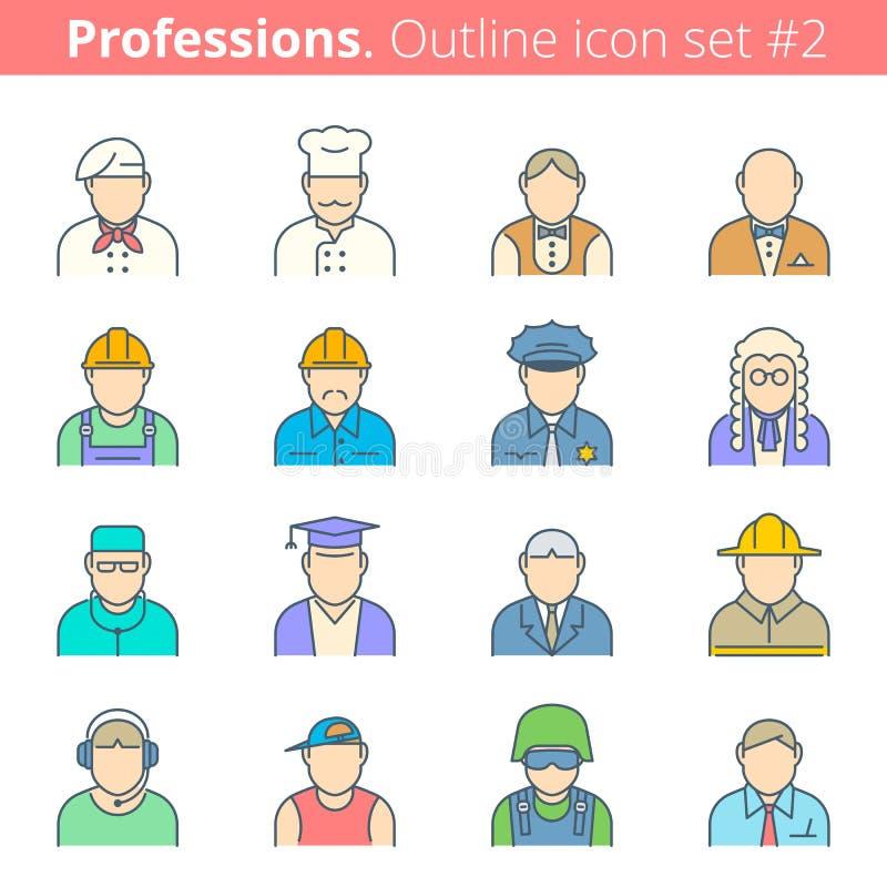 Εικονίδιο περιλήψεων χρώματος επαγγελμάτων και επαγγελμάτων ανθρώπων καθορισμένο #1 απεικόνιση αποθεμάτων