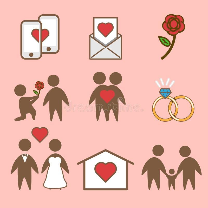 Εικονίδιο που απομονώνεται διανυσματικό του συνόλου ζωής αγάπης διανυσματική απεικόνιση