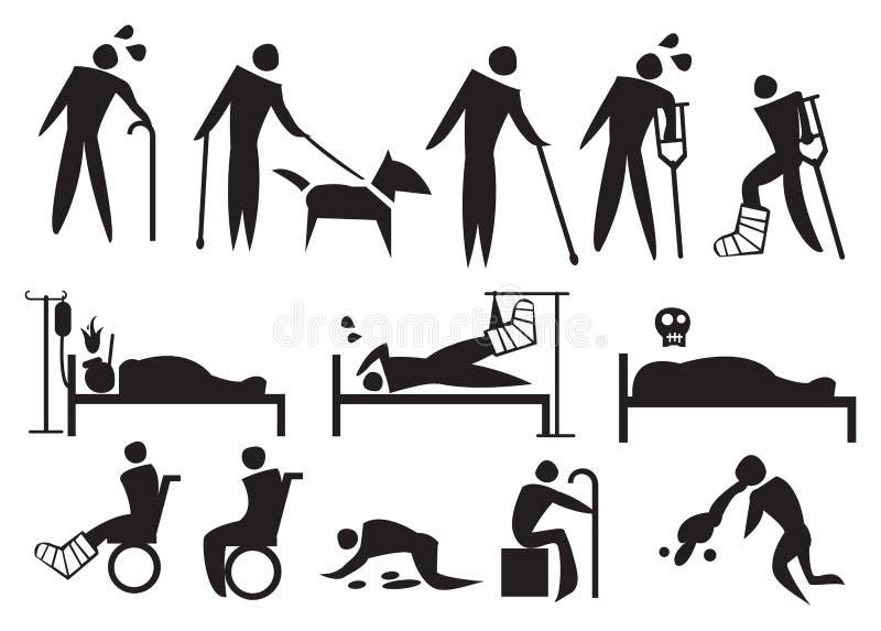 Εικονίδιο που τίθεται για την ασθένεια και το βάσανο διανυσματική απεικόνιση