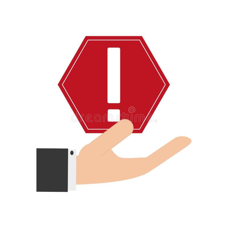 Εικονίδιο προειδοποιητικών σημαδιών εκμετάλλευσης χεριών απεικόνιση αποθεμάτων