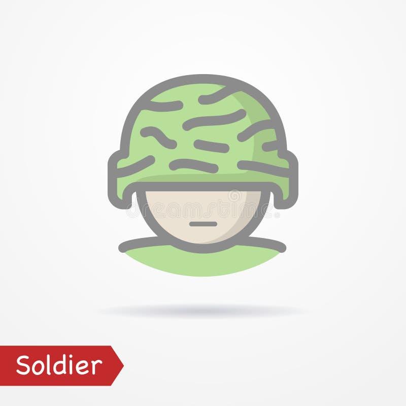 Εικονίδιο προσώπου στρατιωτών απεικόνιση αποθεμάτων