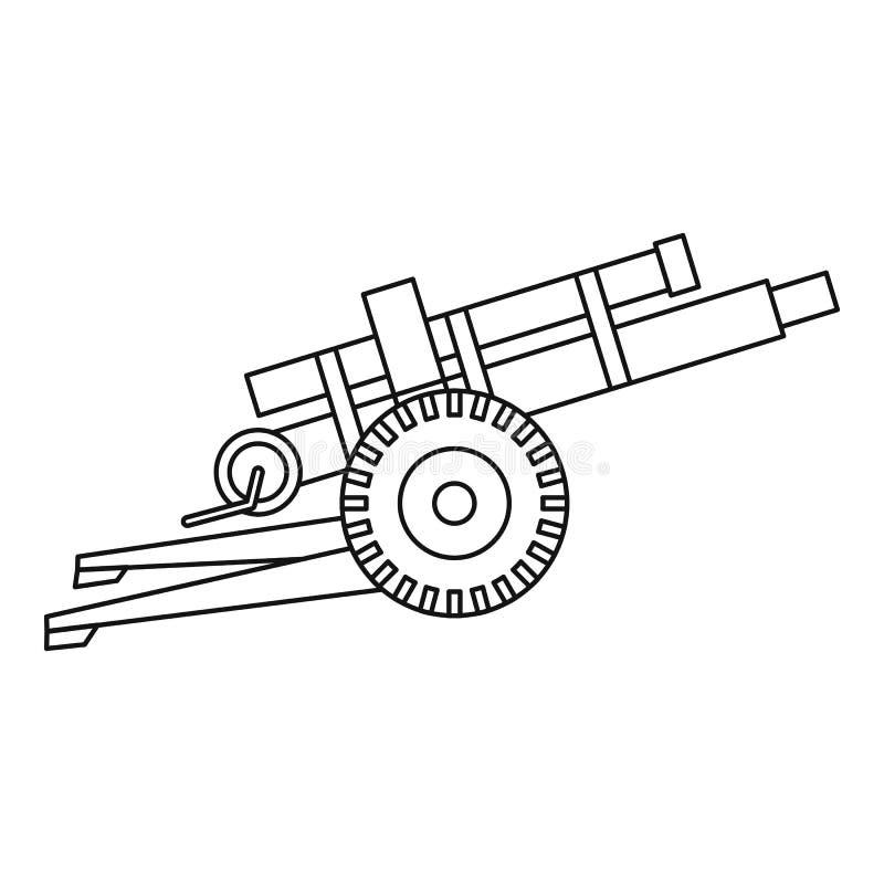 Εικονίδιο πυροβόλων όπλων πυροβολικού, ύφος περιλήψεων απεικόνιση αποθεμάτων