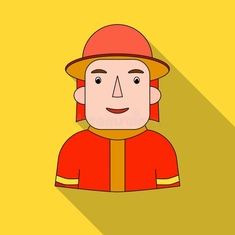 Εικονίδιο πυροσβεστών στο επίπεδο ύφος που απομονώνεται στο άσπρο υπόβαθρο Άνθρωποι του διαφορετικού διανύσματος αποθεμάτων συμβό ελεύθερη απεικόνιση δικαιώματος