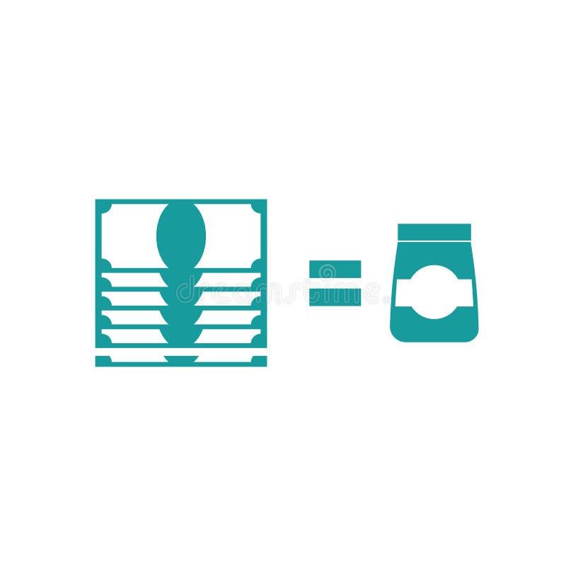 Εικονίδιο πώλησης αγαθών Κόστος του επιχειρησιακού σημαδιού Χρήματα και αποστολή διανυσματική απεικόνιση