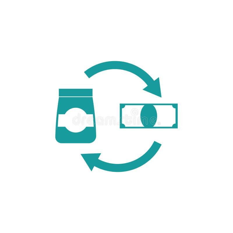 Εικονίδιο πώλησης αγαθών Κόστος του επιχειρησιακού σημαδιού Χρήματα και αποστολή ελεύθερη απεικόνιση δικαιώματος