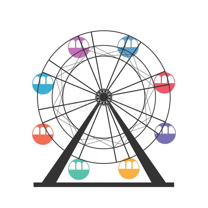Εικονίδιο ροδών Ferris Καρναβάλι Ιπποδρόμιο Funfair διανυσματική ρόδα πάρκων νύχτας ferris διασκέδασης απεικόνιση αποθεμάτων