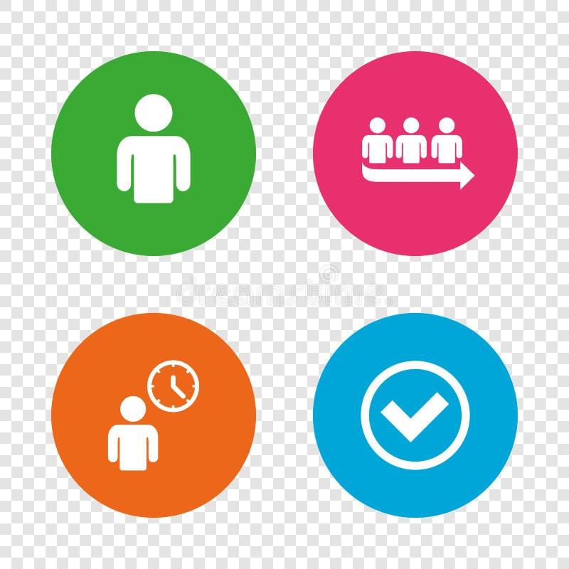 Εικονίδιο σειρών αναμονής Σημάδι αναμονής προσώπων Έλεγχος και χρόνος ελεύθερη απεικόνιση δικαιώματος