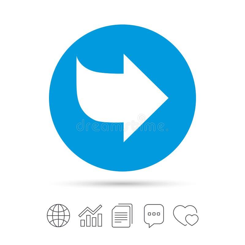 Εικονίδιο σημαδιών βελών κουμπί έπειτα Σύμβολο ναυσιπλοΐας ελεύθερη απεικόνιση δικαιώματος