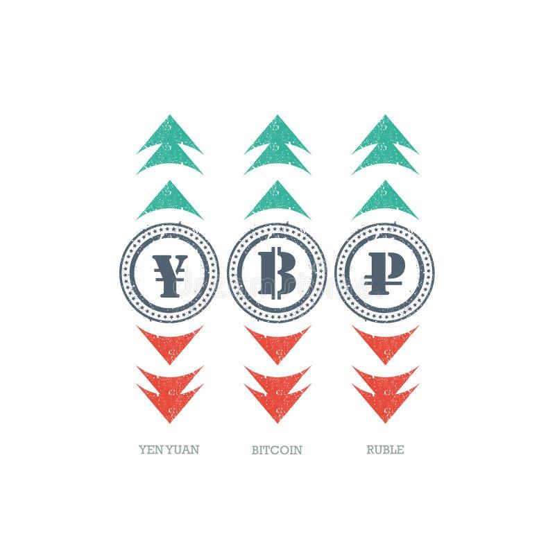 Εικονίδιο σημαδιών νομίσματος Grunge με πράσινος και κόκκινος πάνω-κάτω τα βέλη ελεύθερη απεικόνιση δικαιώματος