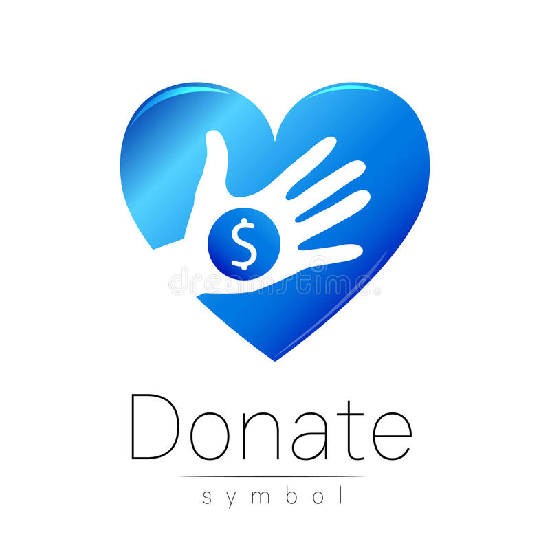Εικονίδιο σημαδιών δωρεάς Δώστε το χέρι και την καρδιά χρημάτων Σύμβολο φιλανθρωπίας ή χρηματοδότησης Ανθρώπινη βοήθεια Στην άσπρ απεικόνιση αποθεμάτων