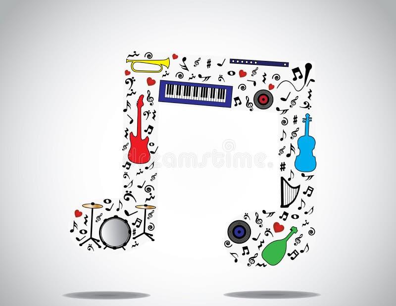 Εικονίδιο σημειώσεων μουσικής φιαγμένο επάνω από διαφορετικές μουσικές όργανα και νότες με ένα φωτεινό άσπρο υπόβαθρο ελεύθερη απεικόνιση δικαιώματος