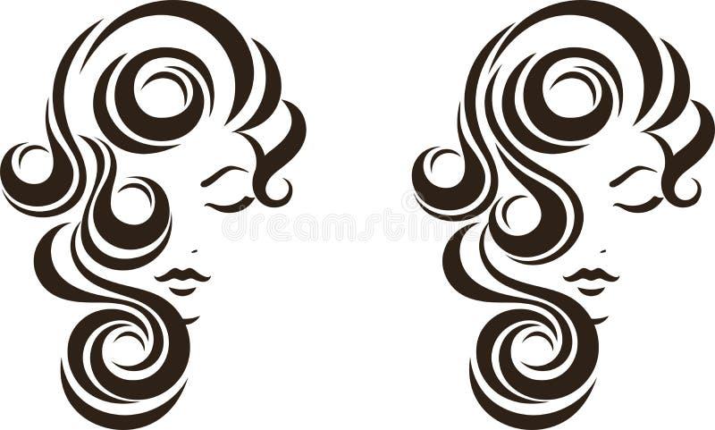 Εικονίδιο σκαλιών τρίχας, θηλυκό πρόσωπο διανυσματική απεικόνιση