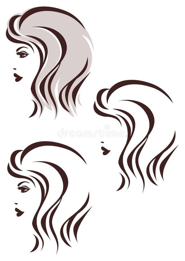 Εικονίδιο σκαλιών τρίχας, πρόσωπο της γυναίκας ελεύθερη απεικόνιση δικαιώματος