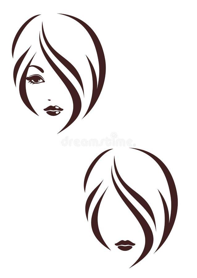 Εικονίδιο σκαλιών τρίχας, το πρόσωπο κοριτσιών διανυσματική απεικόνιση