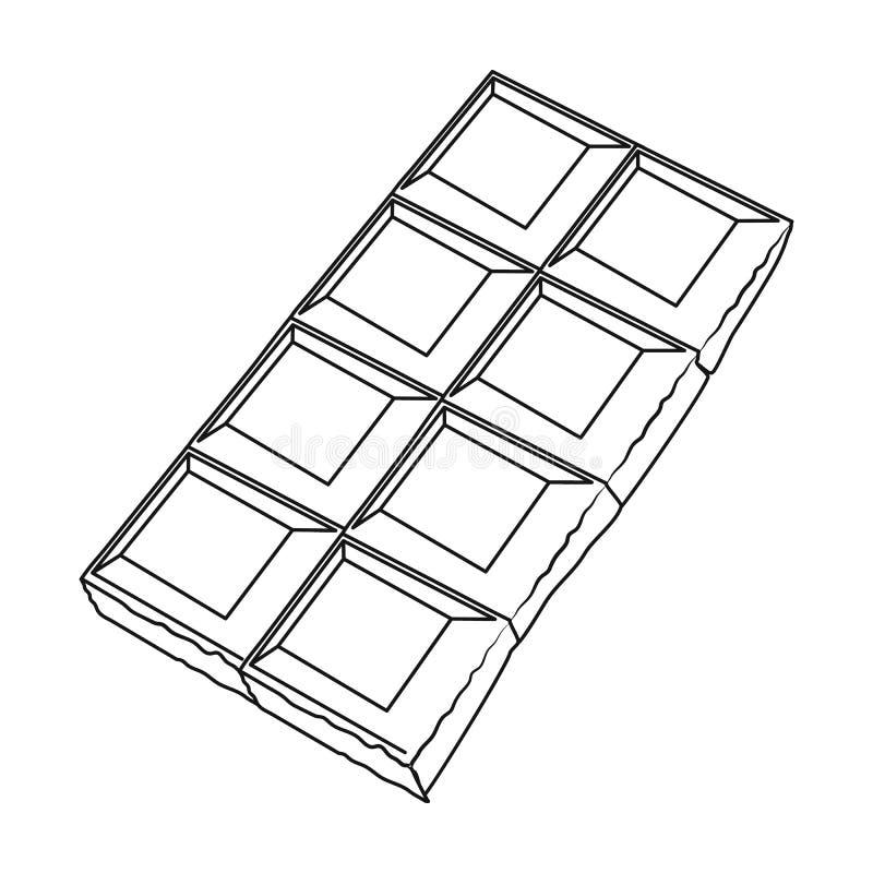 Εικονίδιο σοκολάτας στο ύφος περιλήψεων που απομονώνεται στο άσπρο υπόβαθρο Διανυσματική απεικόνιση αποθεμάτων συμβόλων επιδορπίω απεικόνιση αποθεμάτων