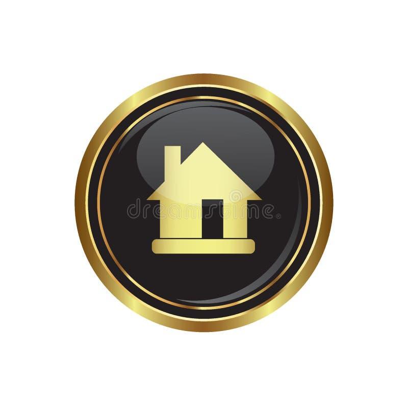 Εικονίδιο σπιτιών στο Μαύρο με το χρυσό στρογγυλό κουμπί διανυσματική απεικόνιση