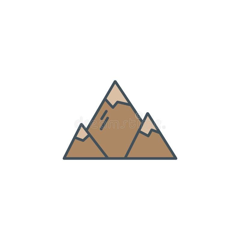 Εικονίδιο στρατόπεδων εξερευνητών βουνών καλοκαιριού και χειμώνα στο επίπεδο ύφος Για τις κινητές εφαρμογές, infographics ταξιδιο ελεύθερη απεικόνιση δικαιώματος