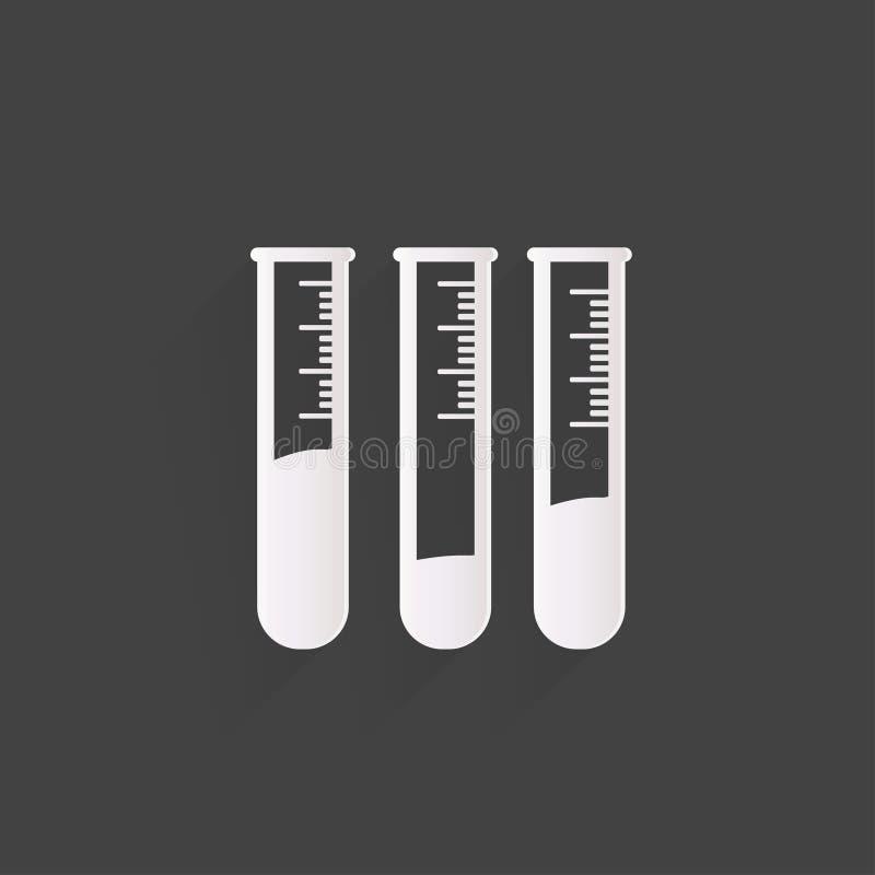 Εικονίδιο σωλήνων δοκιμής, εξοπλισμός μικροβιολογίας διανυσματική απεικόνιση