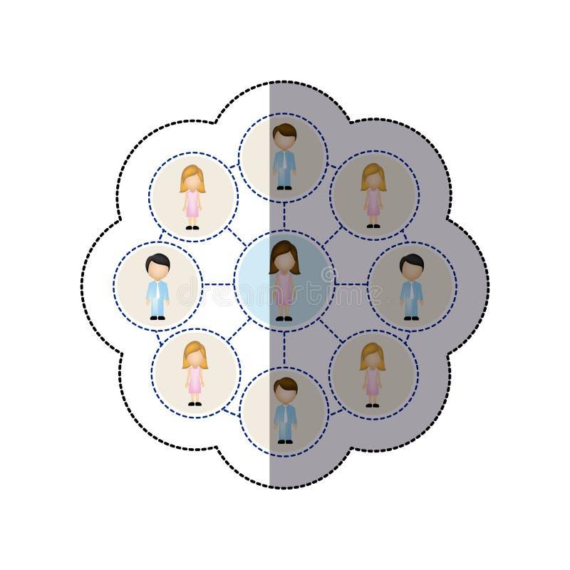 εικονίδιο σύνδεσης ανθρώπων χρώματος απεικόνιση αποθεμάτων