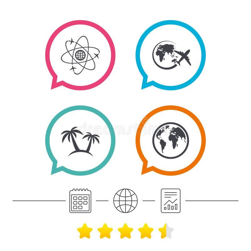 Εικονίδιο ταξιδιού ταξιδιού Αεροπλάνο, σύμβολα παγκόσμιων σφαιρών διανυσματική απεικόνιση