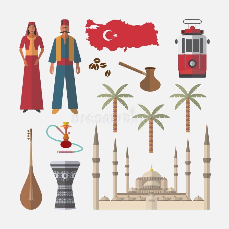 Εικονίδιο ταξιδιού της Τουρκίας Σύνολο αρχιτεκτονικής, άνθρωποι, στοιχεία ελεύθερη απεικόνιση δικαιώματος
