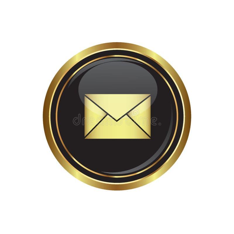 Εικονίδιο ταχυδρομείου στο Μαύρο με το χρυσό στρογγυλό κουμπί απεικόνιση αποθεμάτων