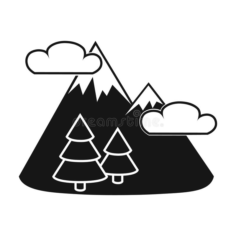 Εικονίδιο τοπίων βουνών στο μαύρο ύφος που απομονώνεται στο άσπρο υπόβαθρο Διανυσματική απεικόνιση αποθεμάτων συμβόλων πικ-νίκ απεικόνιση αποθεμάτων