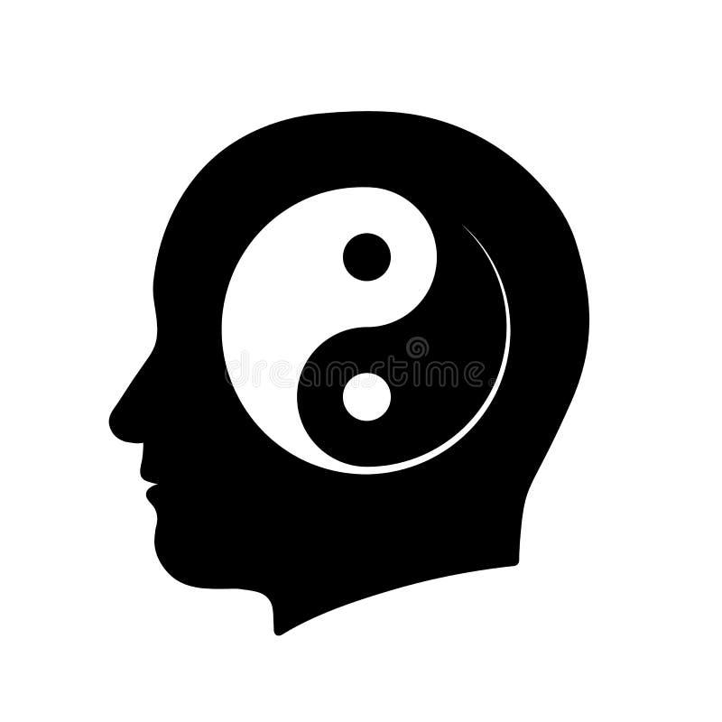 Εικονίδιο του κεφαλιού με το σύμβολο περισυλλογής yin yang διανυσματική απεικόνιση