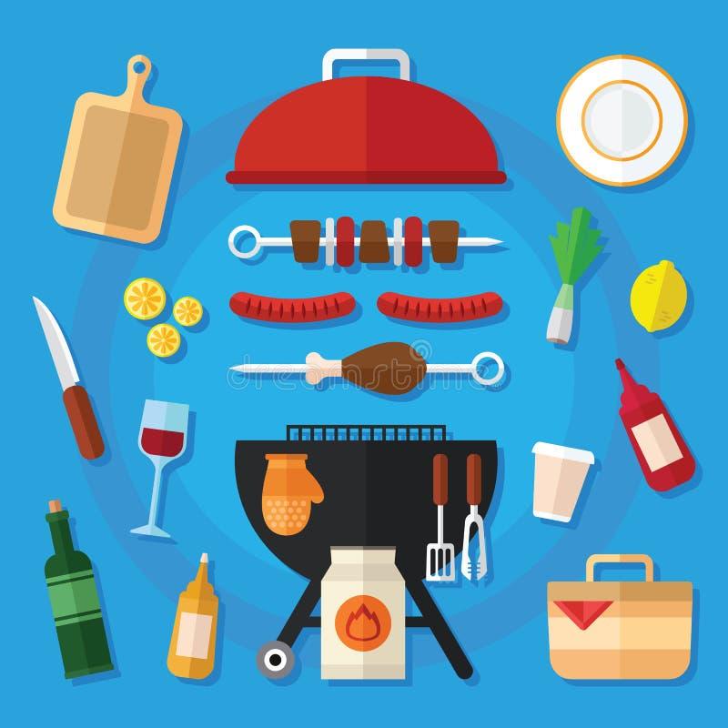 Εικονίδιο τροφίμων πικ-νίκ και σχαρών που τίθεται σε ένα επίπεδο σχέδιο απεικόνιση αποθεμάτων