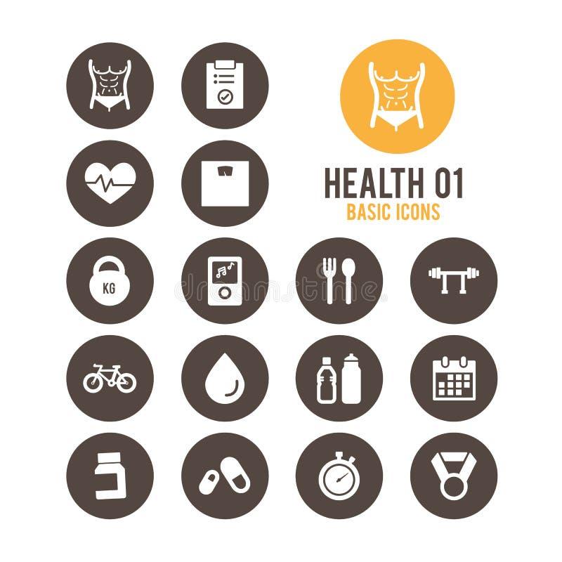 Εικονίδιο υγείας & ικανότητας επίσης corel σύρετε το διάνυσμα απεικόνισης ελεύθερη απεικόνιση δικαιώματος