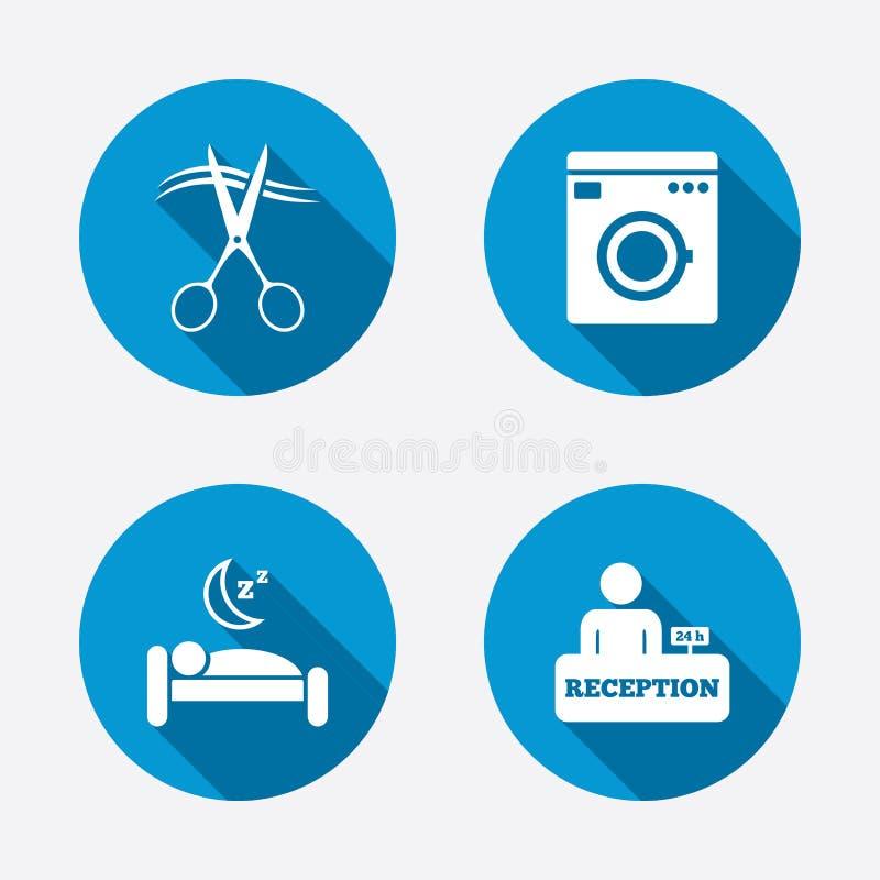 Εικονίδιο υπηρεσιών ξενοδοχείων Πλυντήριο, κομμωτής ελεύθερη απεικόνιση δικαιώματος