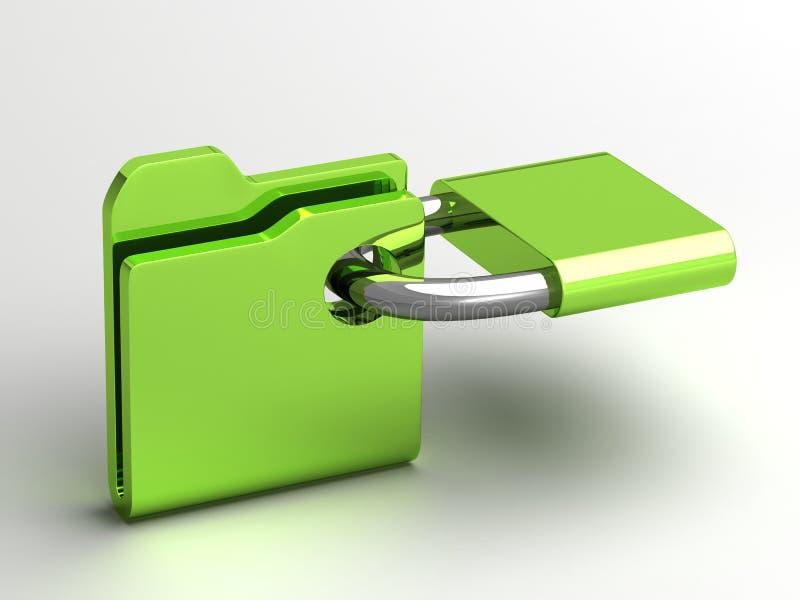 Εικονίδιο υπολογιστών για την ασφαλή τρισδιάστατη απεικόνιση φακέλλων στοκ φωτογραφία με δικαίωμα ελεύθερης χρήσης