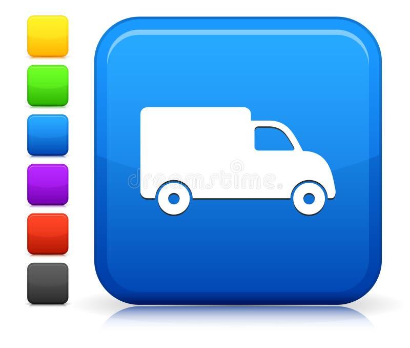 Εικονίδιο φορτηγών στην τετραγωνική συλλογή κουμπιών Διαδικτύου στοκ εικόνα