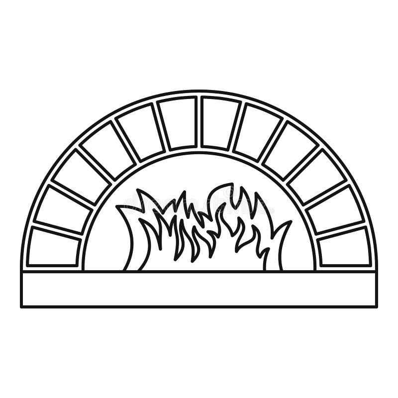 Εικονίδιο φούρνων καυσόξυλου, ύφος περιλήψεων διανυσματική απεικόνιση