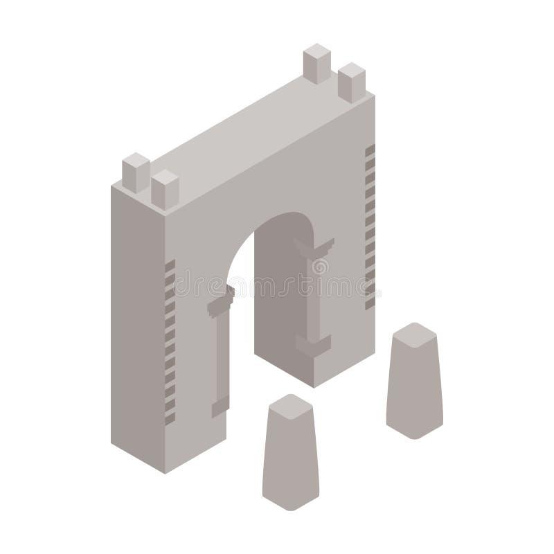 Εικονίδιο φρουρίων τοίχων, isometric τρισδιάστατο ύφος διανυσματική απεικόνιση