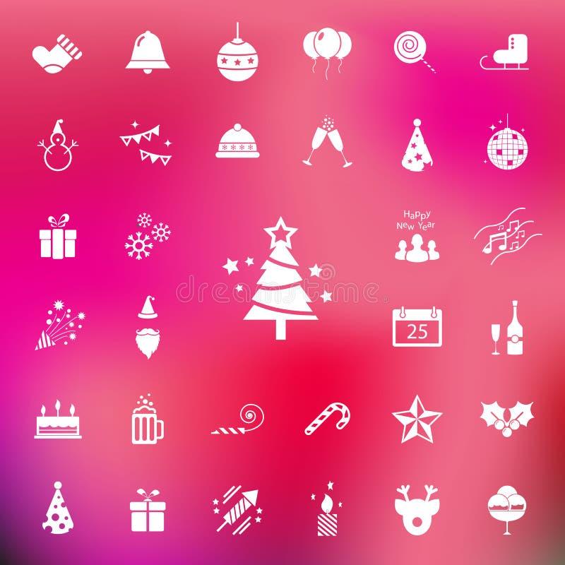 Εικονίδιο Χριστουγέννων και εορτασμού που τίθεται στο κόκκινο υπόβαθρο θαμπάδων διάνυσμα/απεικόνιση ελεύθερη απεικόνιση δικαιώματος