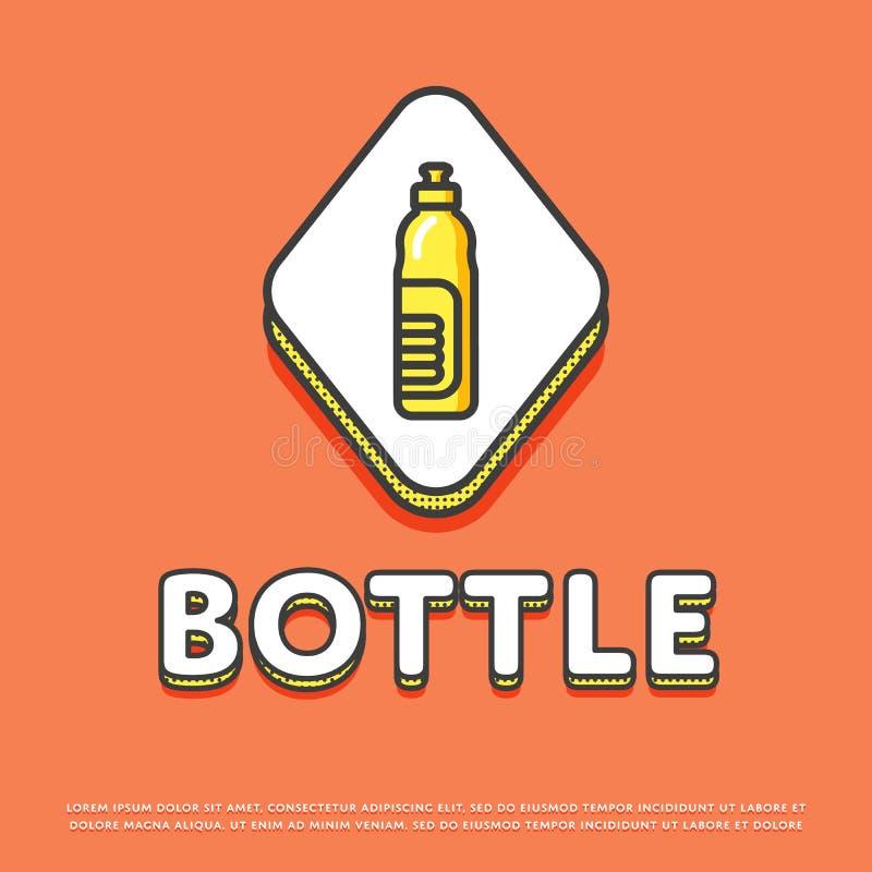 Εικονίδιο χρώματος μπουκαλιών στο σχέδιο γραμμών ελεύθερη απεικόνιση δικαιώματος